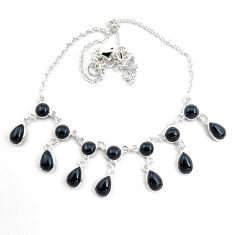24.64cts natural black onyx pear 925 sterling silver necklace jewelry p44529