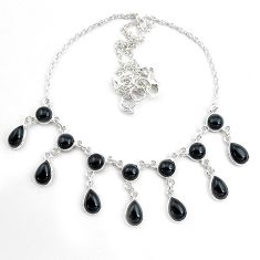 26.36cts natural black onyx pear 925 sterling silver necklace jewelry p44530