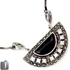 NATURAL BLACK ONYX TOPAZ MARCASITE 925 STERLING SILVER NECKLACE JEWELRY F75135
