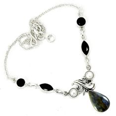 Natural black pietersite (african) pearl 925 sterling silver necklace h70187