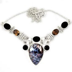 Natural black pietersite (african) topaz onyx 925 silver necklace jewelry j13326