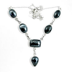 42.71cts natural black psilomelane (crown of silver) 925 silver necklace p69681
