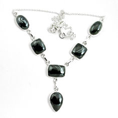 43.11cts natural black psilomelane (crown of silver) 925 silver necklace p69682