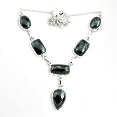 48.13cts natural black psilomelane (crown of silver) 925 silver necklace p69683