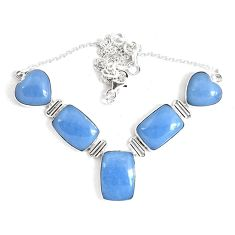 64.88cts natural blue angelite 925 sterling silver necklace jewelry p47408