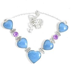 66.10cts natural blue angelite amethyst 925 sterling silver necklace p47406
