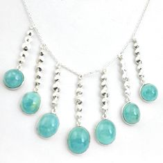 43.32cts natural blue aquamarine 925 sterling silver necklace jewelry p43310