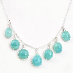 30.49cts natural blue aquamarine 925 sterling silver necklace jewelry p43352