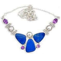 Natural blue australian opal (lab) amethyst pearl 925 silver necklace j13351