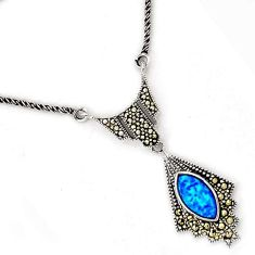 NATURAL BLUE AUSTRALIAN OPAL MARCASITE 925 SILVER CHAIN NECKLACE JEWELRY H20984