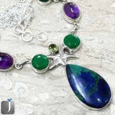 NATURAL BLUE AZURITE IN CHRYSOCOLLA 925 SILVER STARFISH NECKLACE JEWELRY F40382