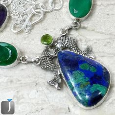 NATURAL BLUE AZURITE IN CHRYSOCOLLA FISH 925 SILVER NECKLACE JEWELRY F40388