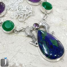 NATURAL BLUE AZURITE IN CHRYSOCOLLA FISH 925 SILVER NECKLACE JEWELRY F40400
