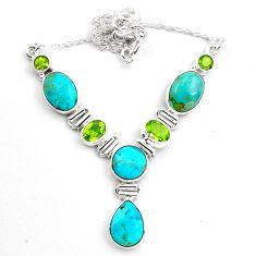 30.89cts natural blue campitos turquoise peridot 925 silver necklace p88627