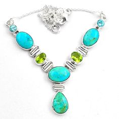 32.16cts natural blue campitos turquoise peridot 925 silver necklace p88628