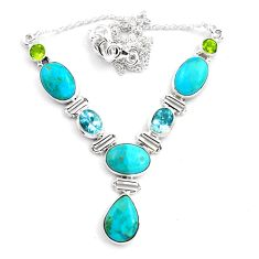 31.28cts natural blue campitos turquoise peridot 925 silver necklace p88632