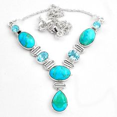 34.21cts natural blue campitos turquoise topaz 925 silver necklace p88629
