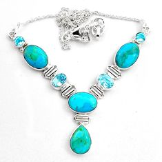 34.21cts natural blue campitos turquoise topaz 925 silver necklace p88631