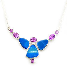 31.05cts natural blue doublet opal australian amethyst silver necklace p91773