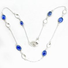 16.87cts natural blue iolite oval 925 sterling silver necklace jewelry p43372