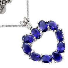 NATURAL BLUE IOLITE OVAL HEART 925 STERLING SILVER CHAIN NECKLACE JEWELRY H6517