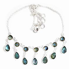 25.72cts natural blue labradorite 925 sterling silver necklace jewelry p40520
