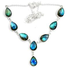 44.25cts natural blue labradorite 925 sterling silver necklace jewelry p72934
