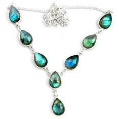 43.18cts natural blue labradorite 925 sterling silver necklace jewelry p72935