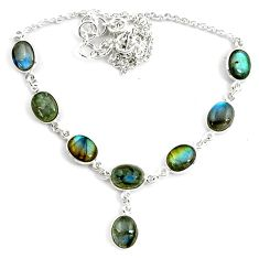 28.73cts natural blue labradorite 925 sterling silver necklace jewelry p72953