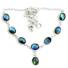 28.73cts natural blue labradorite 925 sterling silver necklace jewelry p72954