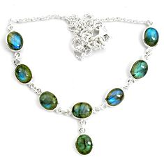 28.73cts natural blue labradorite 925 sterling silver necklace jewelry p72956
