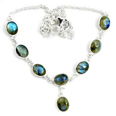 29.34cts natural blue labradorite 925 sterling silver necklace jewelry p72957