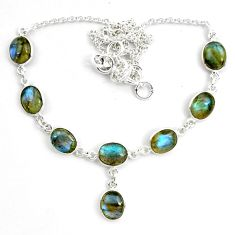 28.08cts natural blue labradorite 925 sterling silver necklace jewelry p72959