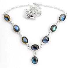 26.72cts natural blue labradorite 925 sterling silver necklace jewelry p92939