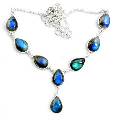 41.32cts natural blue labradorite 925 sterling silver pear necklace p72937