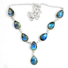 42.60cts natural blue labradorite 925 sterling silver pear necklace p72938