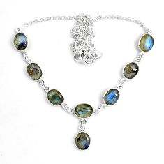 25.05cts natural blue labradorite 925 sterling silver tennis necklace p87760