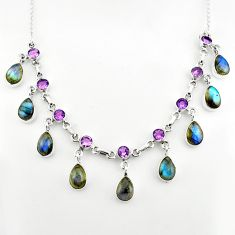 39.64cts natural blue labradorite amethyst 925 sterling silver necklace p81494