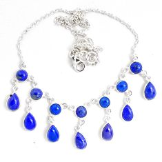 27.46cts natural blue lapis lazuli 925 sterling silver necklace jewelry p40513