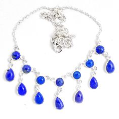 26.97cts natural blue lapis lazuli 925 sterling silver necklace jewelry p40514
