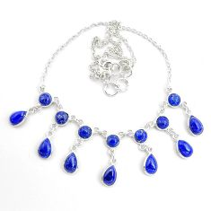 26.42cts natural blue lapis lazuli 925 sterling silver necklace jewelry p44531