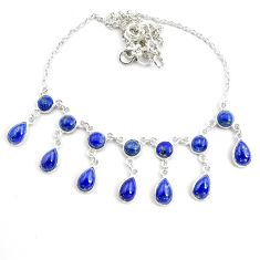 24.49cts natural blue lapis lazuli 925 sterling silver necklace jewelry p44532