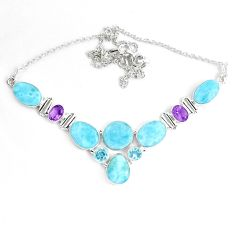 49.66cts natural blue larimar amethyst 925 sterling silver necklace p38408