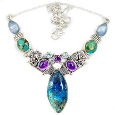 Natural blue shattuckite copper turquoise amethyst 925 silver necklace j13344