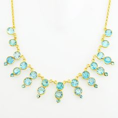 51.30cts natural blue topaz 925 sterling silver 14k gold necklace jewelry p74906