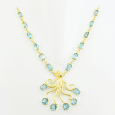 40.36cts natural blue topaz 925 sterling silver 14k gold necklace jewelry p74943