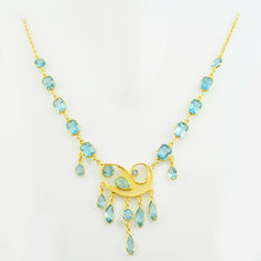51.73cts natural blue topaz 925 sterling silver 14k gold necklace jewelry p74962