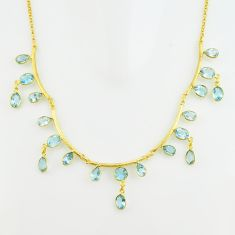 38.14cts natural blue topaz 925 sterling silver 14k gold necklace jewelry p74993