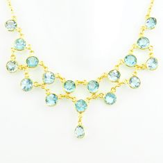 42.60cts natural blue topaz 925 sterling silver 14k gold necklace jewelry p75010