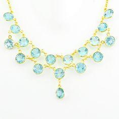 50.09cts natural blue topaz 925 sterling silver 14k gold necklace jewelry p75017
